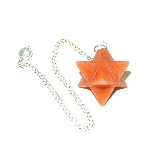 - Red Aventurine Crystal Quartz Merkaba Star Pendulum Reiki Healing Meditation