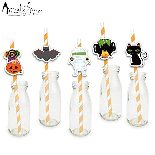 Paper straws - Halloween Theme Series 1 Party Straws Mummy Black Cat Bat Pumpkin Candy Paper Straws Halloween Party Decorations Supplies]()