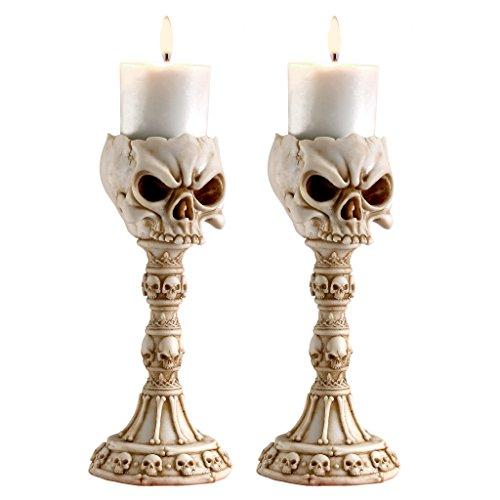 [Design Toscano Skullduggery: Skull and Bones Sculptural Candlesticks: Set of Two] (Halloween Candles)