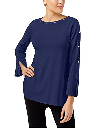 Alfani Womens Embellished Jewel Neck Pullover Sweater Blue - Blue Jewel Neck