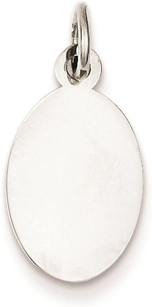 925 Sterling Silver Polished .027 Gauge Engravable Oval Disc Charm Pendant 16mm x 10mm