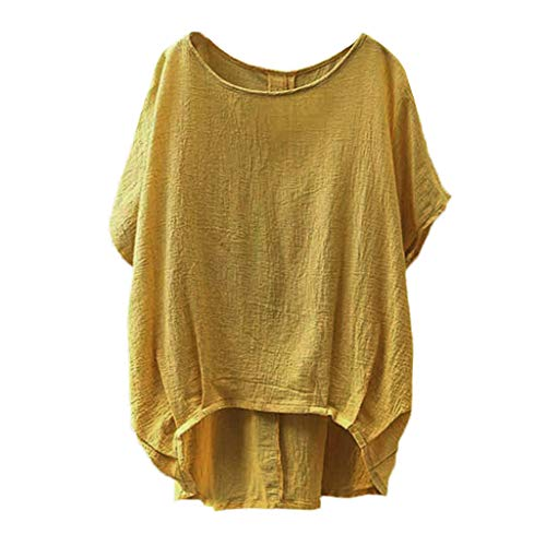 - Dainzuy Women Tops Linen and Cotton Crew-Neck Short Sleeve T-Shirts Casual Tee Loose Tunic Blouse Tee Shirt (A Yellow, L)