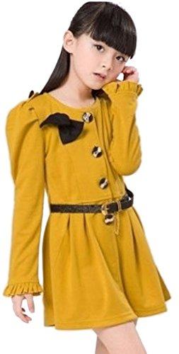 Happy Girls' Slim Bow Button Puff Long Sleeve Dress 4T yellow