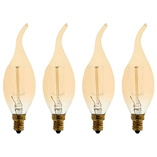 Flame Tipped Candelabra Light Bulb - Vintage Incandescent Chandelier Bulb, Edison Style Crown Filament, CA Type, 25W, 125 Lumens, 1930K Candle Flame, E12 Candelabra Base, Dimmable (4 Pack)