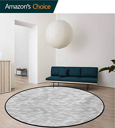 RUGSMAT Grey Washable Creative Modern Round Rug,Puzzle-Like Pattern with Symmetric and Fractal Pieces in Smokey Tones Modern Illustration Coffee Table Mat Non-Skid Living Room Carpet,Diameter-31 Inch