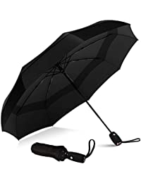 Repel Windproof Double Vented Travel Umbrella with Teflon Coating (Black)