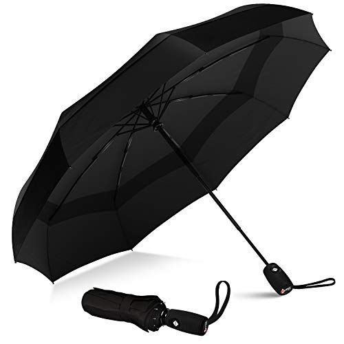 Windproof Double Vented Travel Umbrella with Teflon Coating