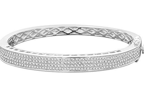 Sterling Silver Diamond Bracelet Bangle (1.26cttw, H-I Color, I1 Clarity) 7