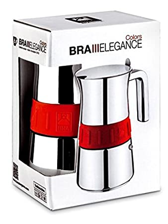 BRA A170557 Cafetera Italiana, 4 Tazas, Acero Inoxidable, Gris y Mora