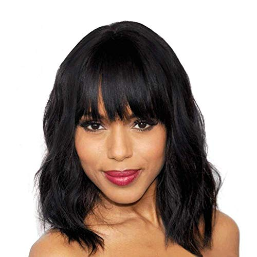 Evasens Short Bob Wavy Wig Synthetic Short Black Wig with Bangs Natural Looking Heat Resistant Fiber Hair Wigs for Women