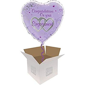InterBalloon Helium Inflated Congratulations Engagement Hearts Balloon Delivered In A Box Amazoncouk Toys Games