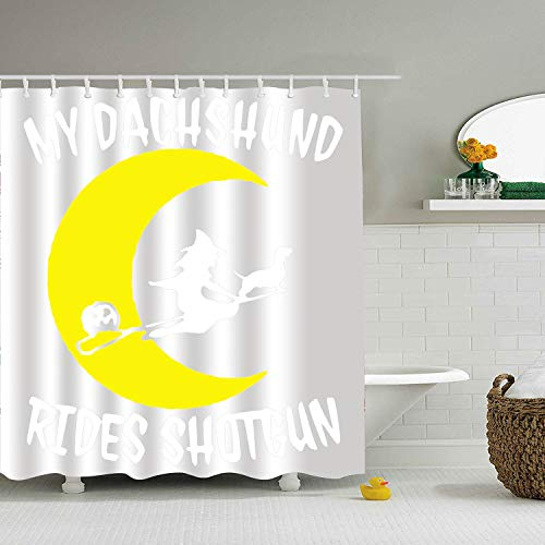 Trongr Dachshund Dog - Shower Curtain - Water, Soap, and Mildew Resistant - Shower Hooks are Included