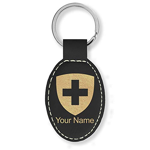 Switzerland Coat - Oval Keychain, Coat of Arms Switzerland, Personalized Engraving Included (Black with Gold)