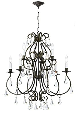 Crystorama 5019-EB-CL-MWP Crystal Accents Nine Light Chandelier from Ashton collection in Bronze/Darkfinish,