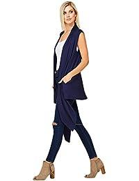 Women's Draped Vest Knit Sleeveless Cardigan with Side Pockets