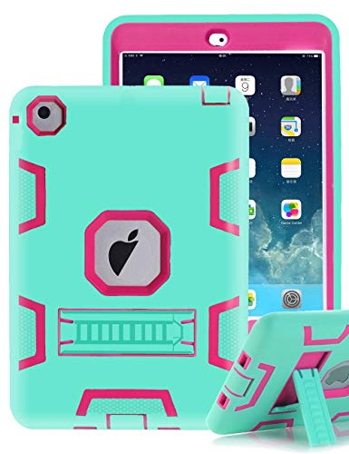 (TIANLI iPad Mini 5 2019 Case,iPad Mini 4 2015 Case Three Layer Kickstand Shockproof Protection High Impact Protective,Mint Hot Pink)