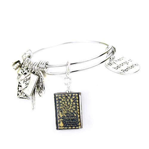 Pride and Prejudice Jane Austen Clay Mini Book Stainless Steel Expandable Bangle Bracelet]()