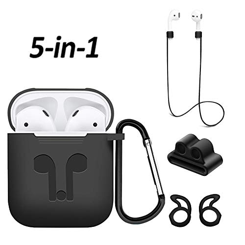 Airpods Case, Mapoo Airpods Accessories Kits, 5 in 1 Protective Silicone Cover and Skin with Ear Hook, Anti-Loss Strap, Watch Band Holder and Keychain for Apple Airpods Charging Case(Black)