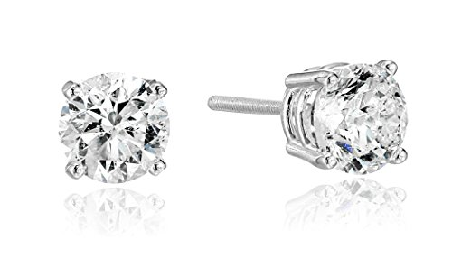 H/i Diamond Studs Round Earrings (14k White Gold Round Cut Diamond Screw Back and Post Stud Earrings (1 1/2cttw, H-I Color, I2 Clarity))