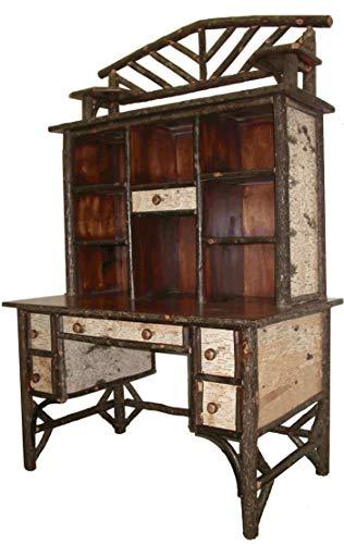 (Hickory Birch Bark Desk With Hutch)