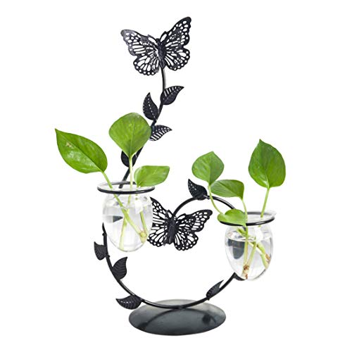 Lemon Planter (Cool Lemon Iron Butterfly Candle Holder Glass Planter Vase Pot Scindapsus Container for Hydroponic Water Plants Air Plants Home Office Garden Desktop Stand Decor)