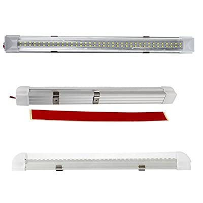 Wiipro 13.5'' Car Interior LED Lights Bar 2PCS 4.5W 72 Bulbs Lighting Strip with On/Off Switch for Van Bus Caravan Lorry Camper Boat RV White: Automotive