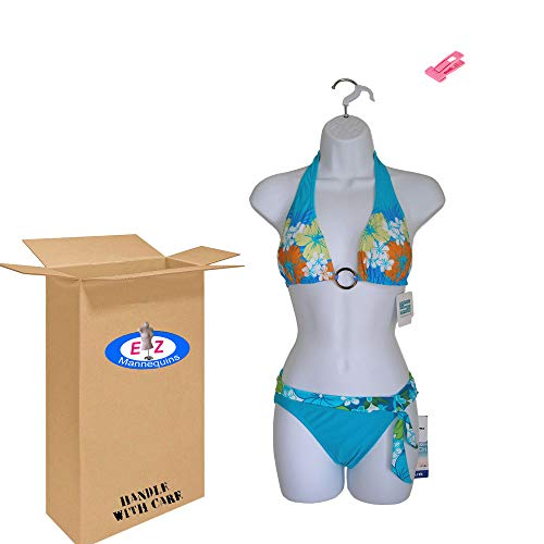 Female Dress White Plastic Mannequin Body Form. Great for Displaying Small & Medium Sizes.