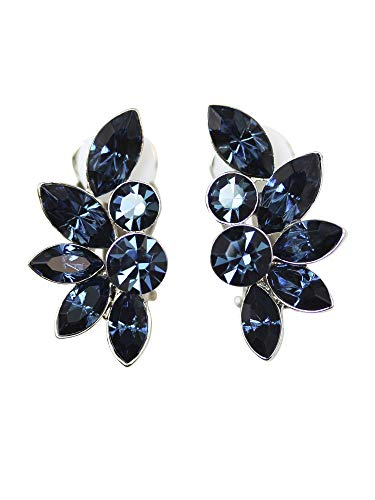 (Faship Navy Blue Rhinestone Crystal Floral Clip On Style Earrings - Navy Blue)