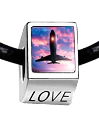 Silver Plated Airplane Photo LOVE Bead Charm Bracelets