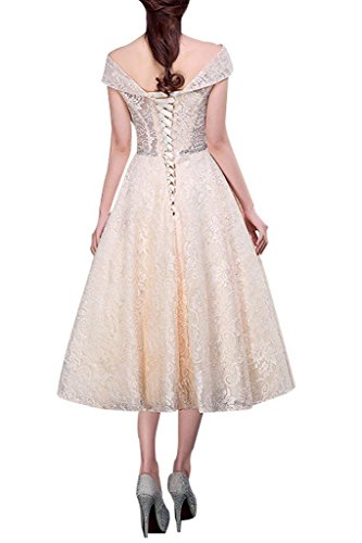 Abendkleider Promkleider Wadenlang Partykleider Wassermelon Champagner Tanzenkleider Damen Charmant Spitze wTqnX16F