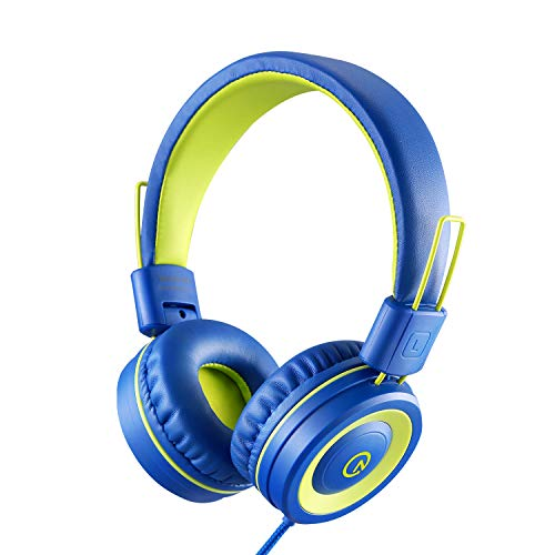 Kids Headphones – noot products K12 Foldable Stereo Tangle-Free 3.5mm Jack Wired Cord On-Ear Headset for Children/Teens/Boys/Girls/Smartphones/School/Kindle/Airplane Travel/Plane/Tablet (Blue/Lime)