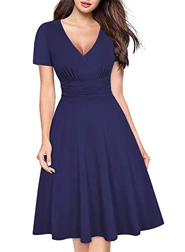 Empire Waist Wrap Dress - Ranphee Womens Navy Modest Ruched Empire Waist Knee Length Semi Formal Wrap Dress