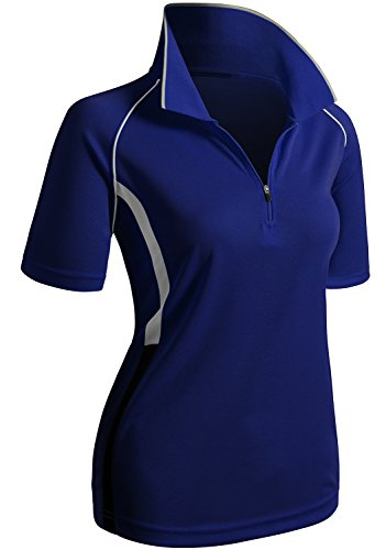 (CLOVERY Athletic Sweat Evaporate Quickly Short Sleeve Zipup POLO Shirt COBALT US S/Tag S)