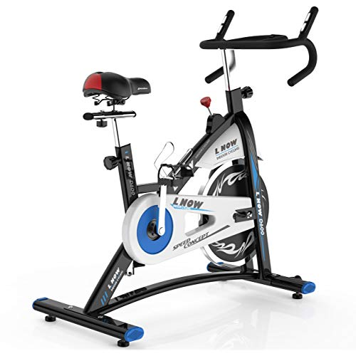 L NOW Indoor Cycling Bike Stationary Bike Exercise Bike with Heart Rate& Bottle Holder (Tour De France Stationary Training Bike Reviews)