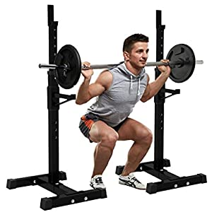DOYCE Adjustable Dumbbells Max Load 441Lbs Squat Rack Dipping Station Barbell Free Bench Press Stand Weight Lifting Rack,Adjustable Height 42-64.5in Gym/Home Portable Dumbbell Racks Stands