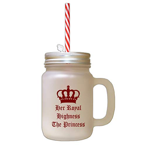 Style In Print Maroon Her Royal Highness The Princess Frosted Glass Mason Jar with Straw