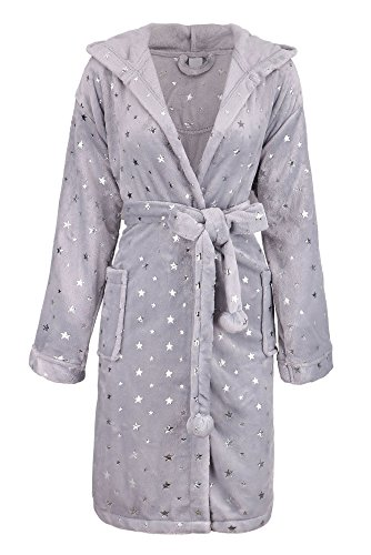 (Bath Robe for Women Hooded Solid Flannel Fleece Bathrobe with Pockets,Spray Star)