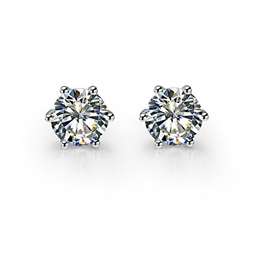 Designer Inspired Austrian Crystal AAA 6 Claw Earrings Stud Diamond Cut White Gold Plated 925 Silver