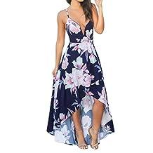�� Women Deep V Neck Floral Print Sleeveless Backless Irregualr Hem Long Maxi Dress