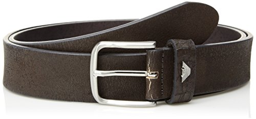 Armani Exchange Men's Crackled Leather Belt, grigio/grey, 38