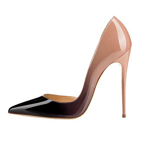 MERUMOTE - Zapatos de vestir de Material Sintético para mujer 46 Nackt-Schwarz