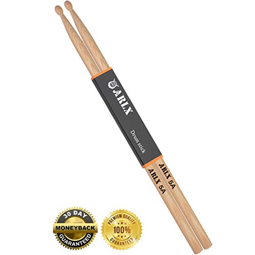 Drum Stick 5A Wood Tip Drum Sticks 5a Classic Hickory Drumstick (1 Pair Hickory)