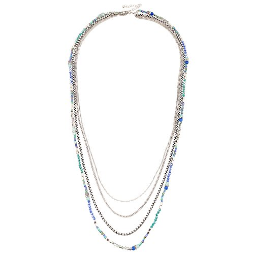 D EXCEED Jewelry Womens Multi Strand Necklace Glass Beaded Sweater Neck Chain Necklace Silver