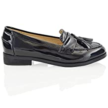 Essex Glam Womens Slip On Loafers Synthetic Leather Pumps Shoes