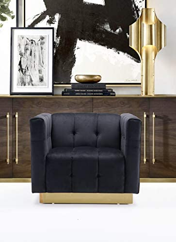 Iconic Home Primavera Accent Club Chair Velvet Upholstered Channel-Quilted Button Tufted Cushion Shelter Arm Design Gold Tone Metal Base Modern Contemporary