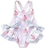 REN12Ni Kids Backless Swimsuit One-Piece Irregular Swimwear Ice Cream Swimming Suit