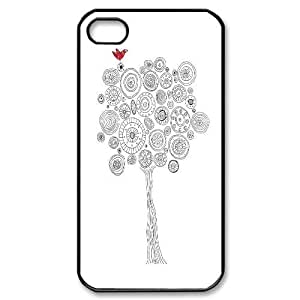 DIY White Tree and Red Bird Iphone 4,4S Case, White Tree and Red Bird Custom Case for iPhone 4, iPhone 4s at Lzzcase