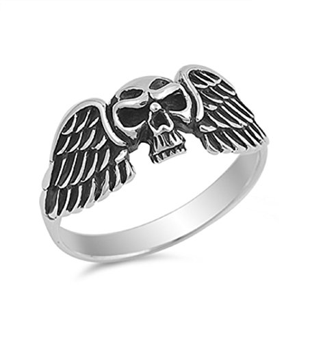 (CloseoutWarehouse Sterling Silver Evil Wings Skull Ring Size 7)