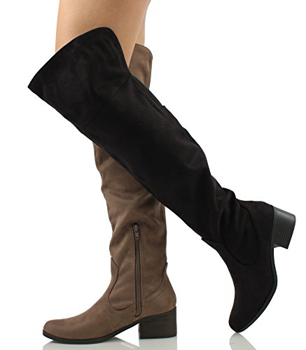 Womens Boot Classified Open Stacked By City M Over The City Faux 6 Taupe Back CC Classified US Suede Knee 2 Cuff Dress qEATXTw