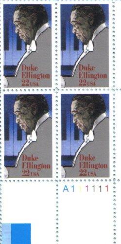 - DUKE ELLINGTON ~ BLACK HERITAGE ~ COMPOSER ~ BAND LEADER ~ BLUES ~ GOSPEL #2211 Plate Block of 4 x 22¢ US Postage Stamps